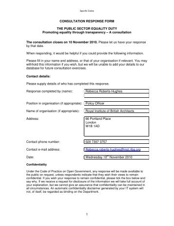 1 CONSULTATION RESPONSE FORM THE PUBLIC SECTOR ...