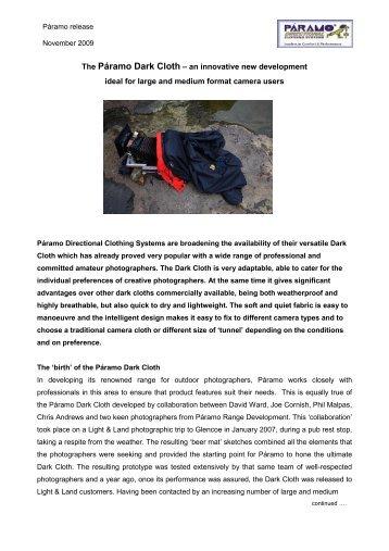 The Páramo Dark Cloth – an innovative new development ... - Paramo