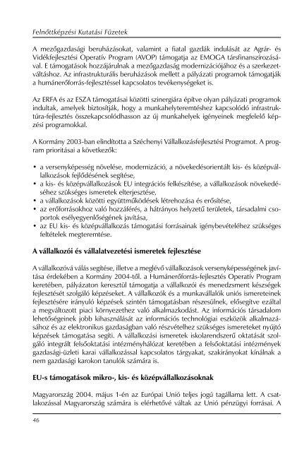 Képzési programok bővíthetősége mikrovállalkozásoknak - Nemzeti ...