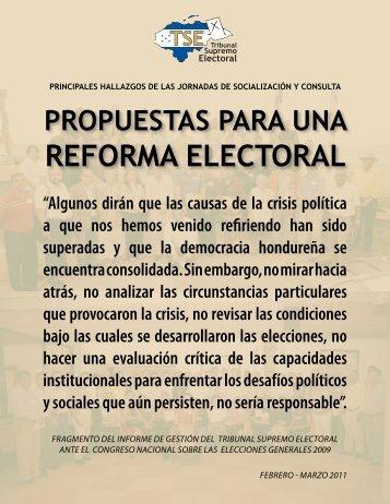 REFORMA ELECTORAL - Tribunal Supremo Electoral
