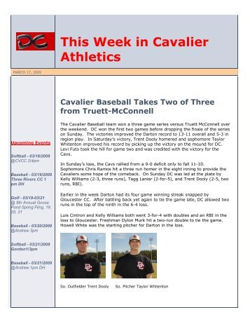 This Week in Cavalier Athletics - Darton State College Athletics