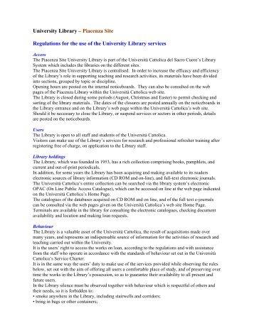 Access Policies- Piacenza - Università Cattolica del Sacro Cuore
