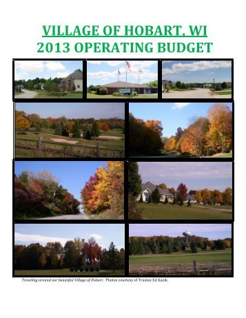 VILLAGE OF HOBART, WI 2013 OPERATING BUDGET