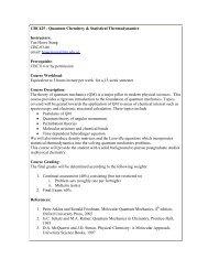CBC425 - Quantum Chemistry & Statistical Thermodynamics ...