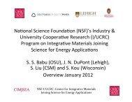 NSF-I/UCRC Program on Integrative Materials Joining ... - NSRP