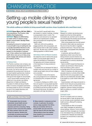 Setting up mobile clinics to improve young people's ... - Nursing Times