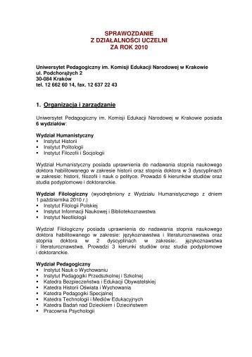 Sprawozdanie z Działalności Uczelni na rok 2010 w formacie PDF
