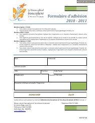 Formulaire d'adhésion 2010 - 2011 - Portail des francophones de ...