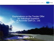 Explanations on the Tender Offer for Individual Investors of ... - PGM