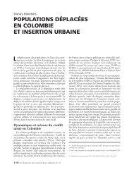 populations déplacées en colombie et insertion urbaine