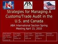 Strategies for Managing A Customs/Trade Audit in - American Bar ...