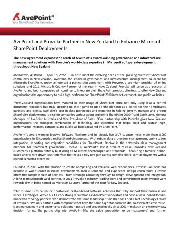 AvePoint and Provoke Partner in New Zealand to Enhance Microsoft ...