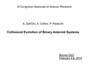 Binary asteroid - XI Congresso Nazionale di Scienze Planetarie