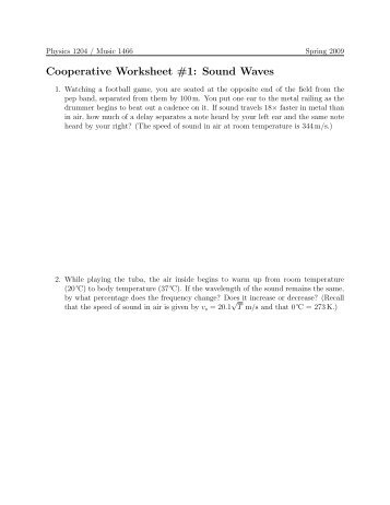 Physics 1204: Cooperative Worksheet #1