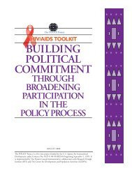 Building Political Commitment through Broadening ... - POLICY Project
