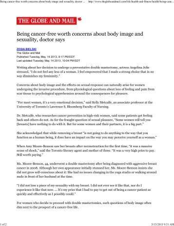 Being cancer-free worth concerns about body image and sexuality ...