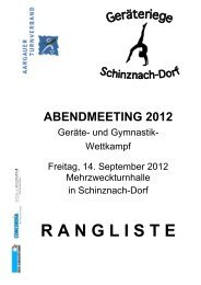 Deckblatt Rangliste Abendmeeting 2012 - Aargauer Turnverband