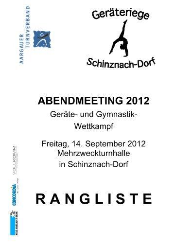 Deckblatt Rangliste Abendmeeting 2012 - Aargauer Turnverband