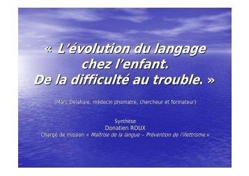 « L'évolution du langage chez l'enfant. De la difficulté au trouble