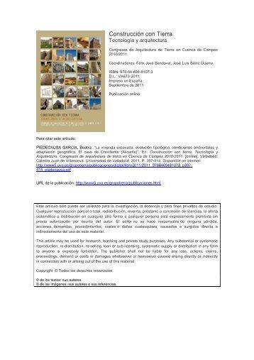 La vivienda excavada - Universidad de Valladolid