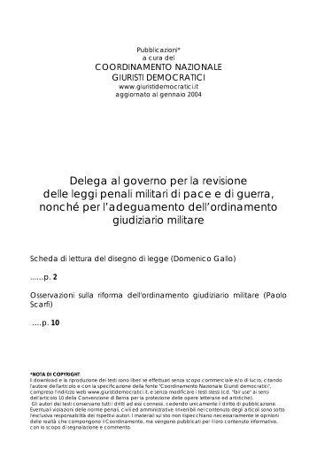 Scheda di lettura del disegno di legge - Giuristi democratici