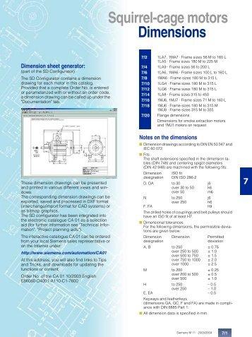 Squirrel-cage motors Dimensions - Siemens