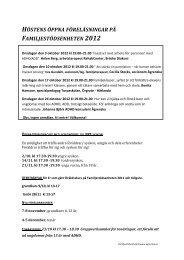 höstens öppna föreläsningar på familjestödsenheten 2012 - Ågrenska