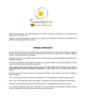 Reserves i cancel·lacions - Infojove