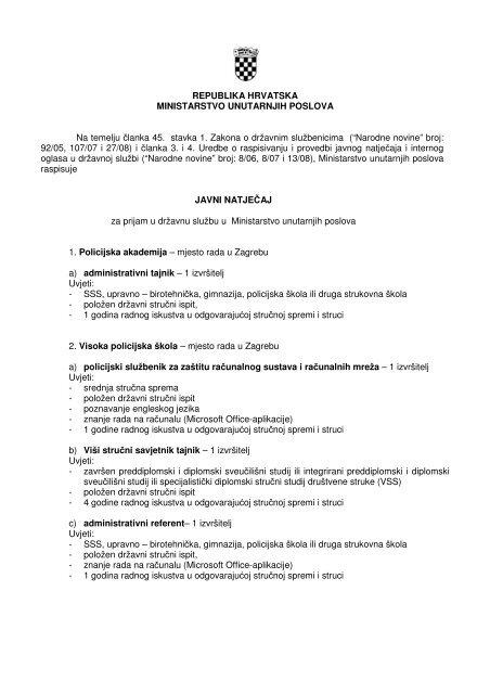 POLICIJE ZADAR na radno mjesto NAČELNIK POLICIJSKE.