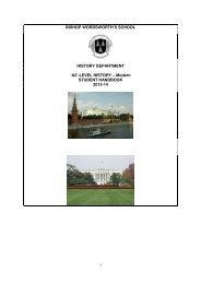 'A2'-LEVEL HISTORY – Modern STUDENT HANDBOOK 2013-14