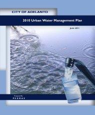 Adelanto 2010 Urban Water Management Plan - Department of ...