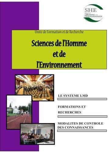 Livret des formations 2012-2013 - UFR Sciences de l'homme et de l ...