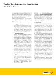 Déclaration de protection des données PostCard Creator