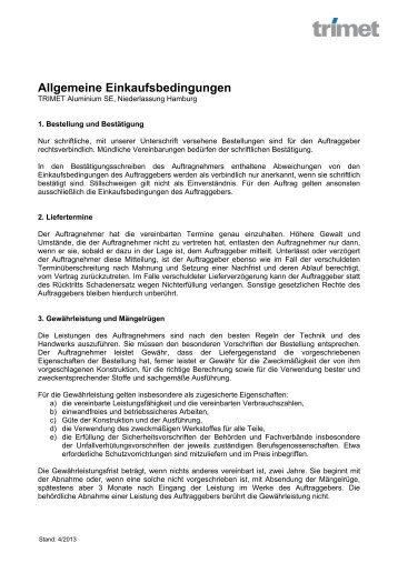 Allgemeine Einkaufsbedingungen, Hamburg - TRIMET Aluminium SE