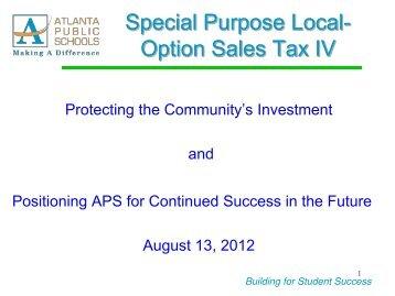 SPLOST IV Board Presentation August 2012 - Atlanta Public Schools