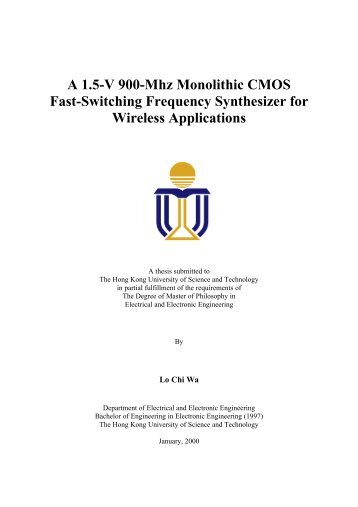 MPhil thesis of Lo Chi Wa - Department of Electronic & Computer ...