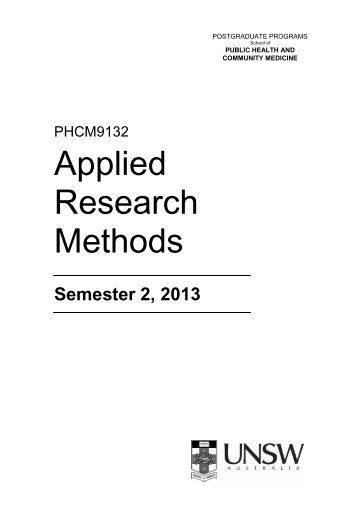 Applied Research Methods - School of Public Health and ...