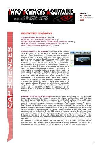 INFORMATIQUE Ausonia modélise à la demande ... - Cap Sciences