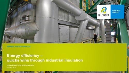 Energy efficiency – quicks wins through industrial insulation - Bilfinger