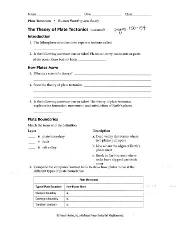 Plate Tectonics Review worksheet - Century Life Science