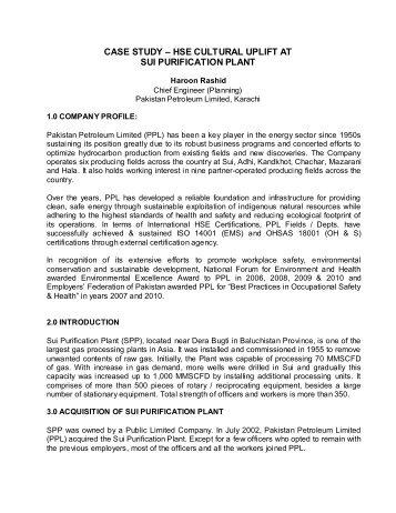 CASE STUDY – HSE CULTURAL UPLIFT AT - IEP Karachi Centre