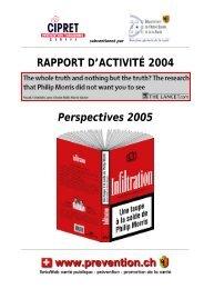 RAPPORT D'ACTIVITÉ 2004 Perspectives 2005 - Prevention.ch