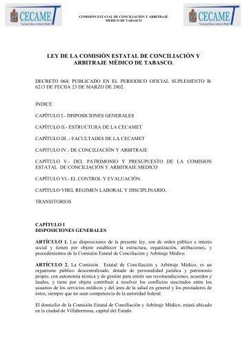 ley de la comisin estatal de conciliacin y arbitraje mdico de tabasco