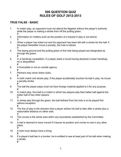 500 question quiz rules of golf 2012-2013 - ThroughtheGreen