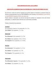 Fechas y horarios de los exámenes por Idioma