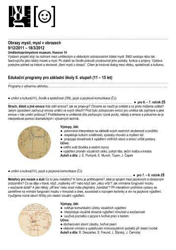 Obrazy mysli, mysl v obrazech 9/12/2011 – 18/3/2012 Edukační ...