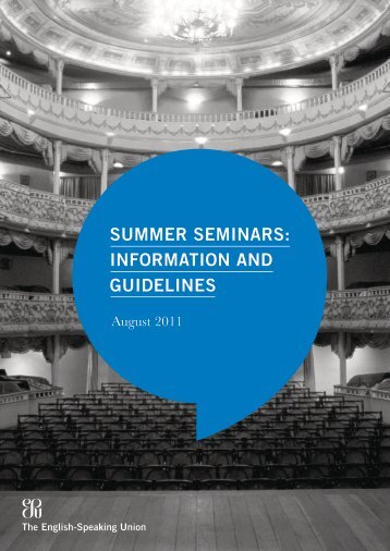 Summer Seminar 2011 - The English-Speaking Union