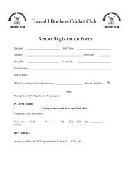 Emerald Brothers Cricket Club Senior Registration Form