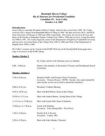Scott Colley October 2-4, 2005 Introduction - Randolph-Macon ...