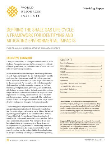 defining the shale gas life cycle - World Resources Institute